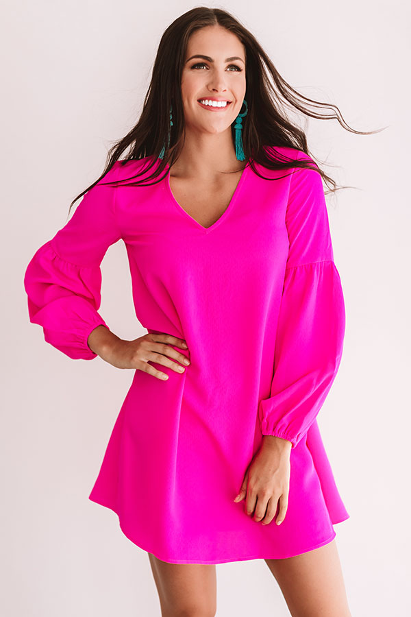 Party On The Patio Shift Dress in Hot Pink