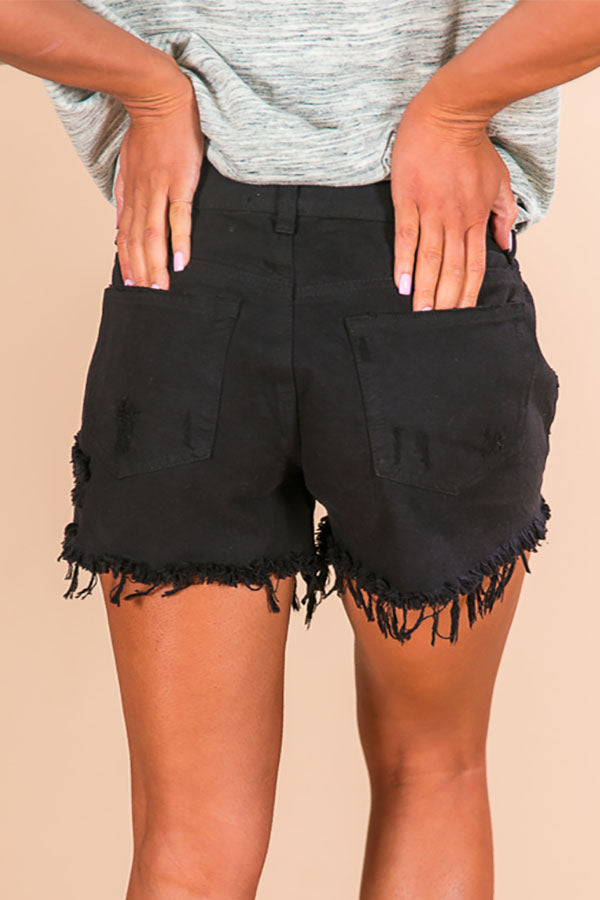 Parker High Waist Distressed Shorts in Black