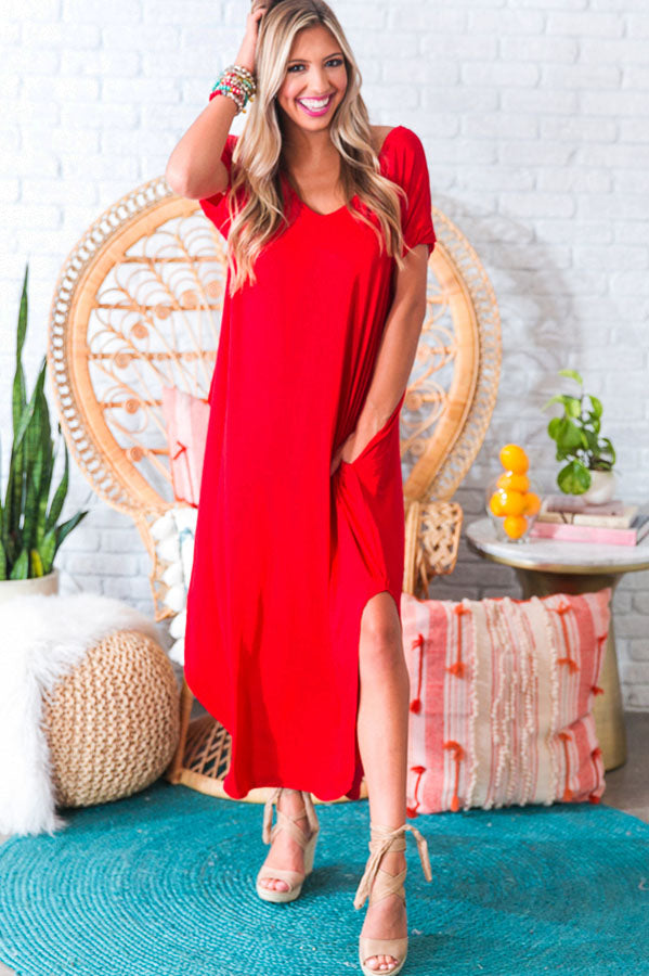 Beachy Keen T-shirt Maxi in Red