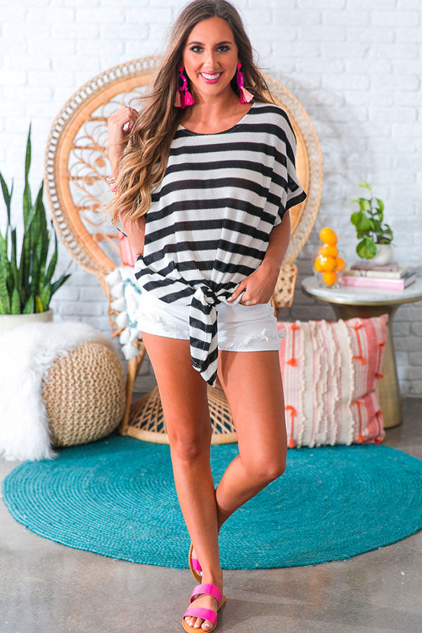 Striped Bliss Shift Top in Black