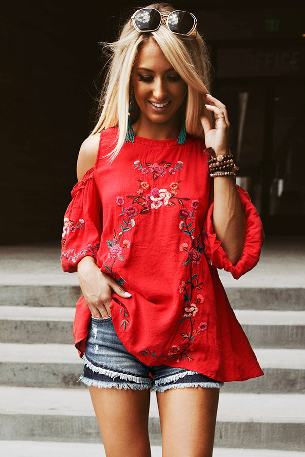 Paradise Is Calling Embroidered Shift Top in Red