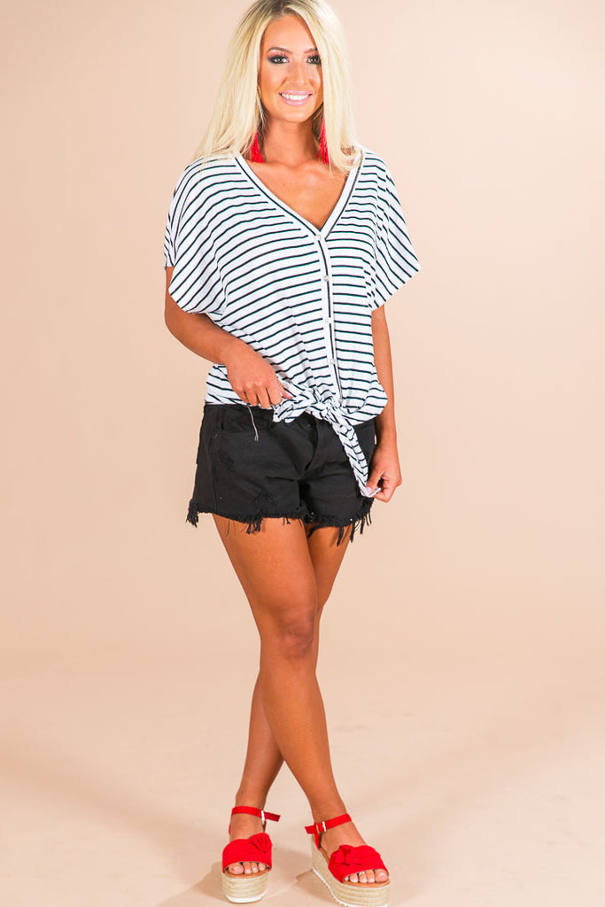 Striped Happiness Shift Top in White
