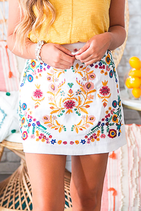 Island Of Capri Embroidered Skirt in White