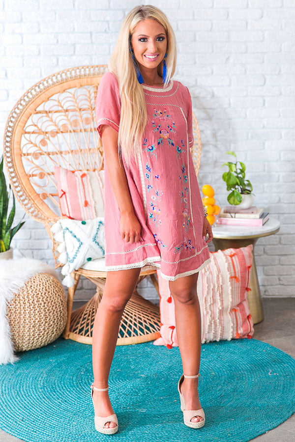 Meet Me In Paradise Shift Dress in Blush