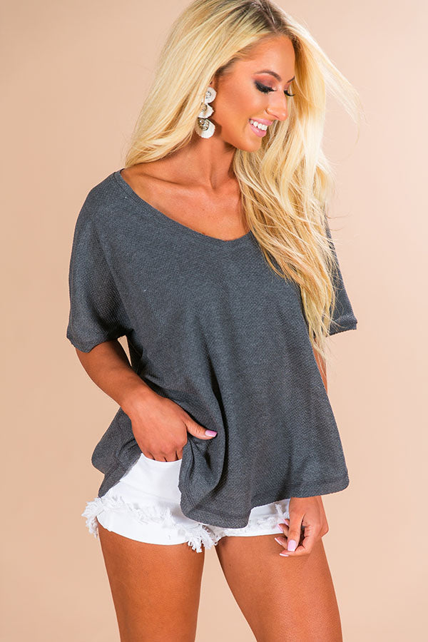 Breezy Weekend Shift Top In Charcoal