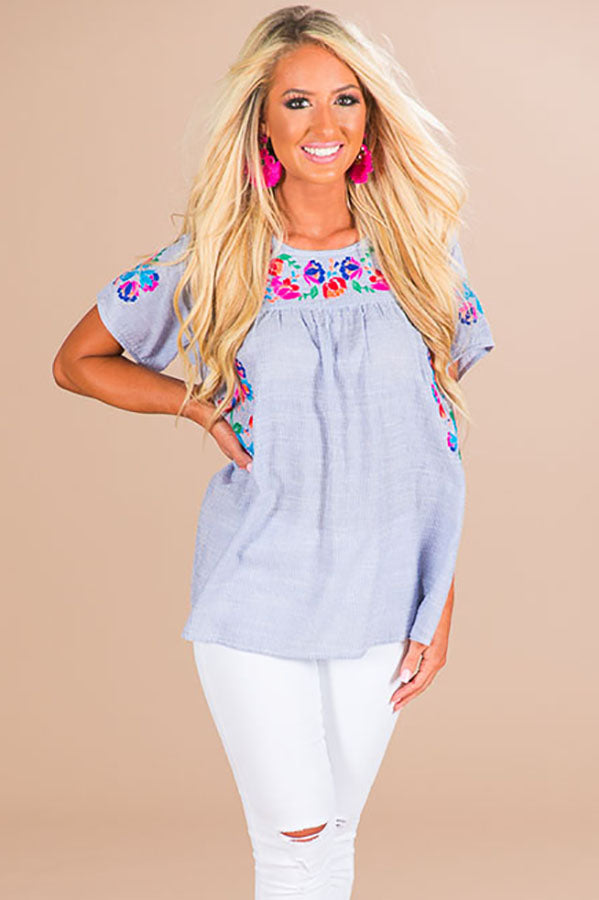 Malibu Babe Embroidered Shift Top