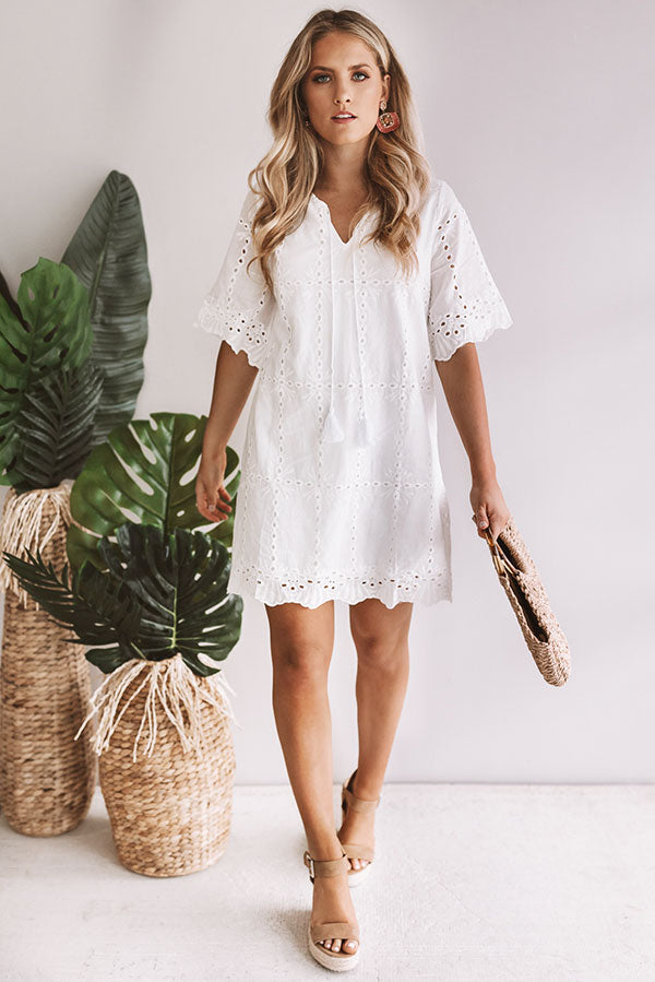 Ellis Island Eyelet Shift Dress in White