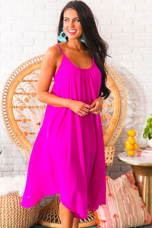 Sunset Mimosas Midi in Fuchsia