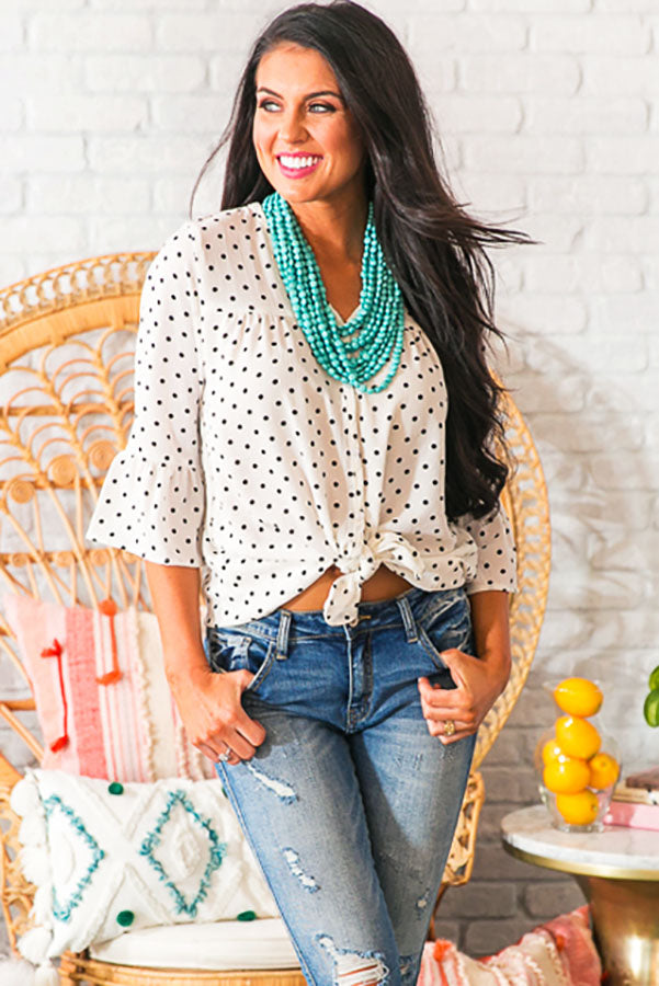 Mimosa Sipping Polka Dot Shift Top In White