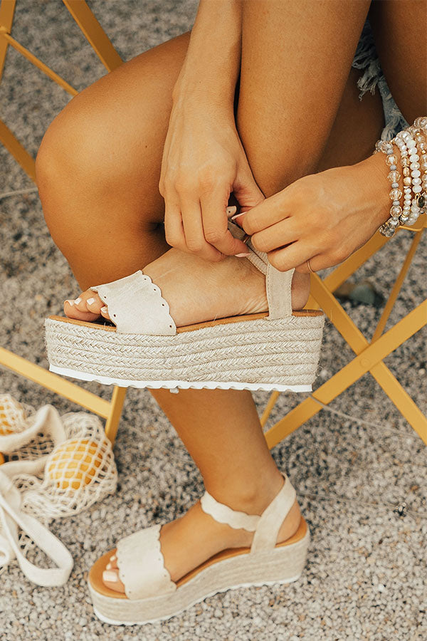 Seaside Heights Scallop Espadrille in Stone