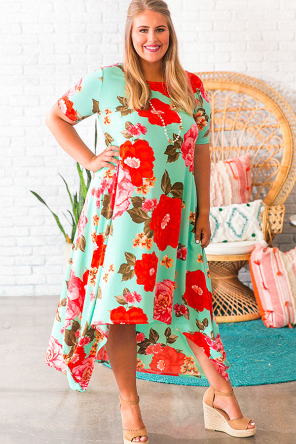 Peony Perfection Midi in Ocean Wave
