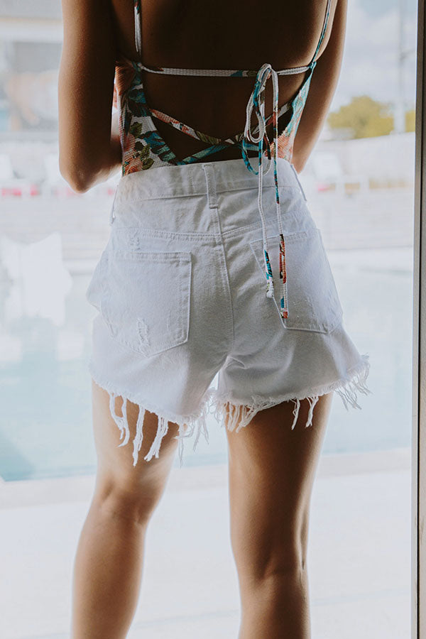 Parker High Waist Distressed Shorts in White