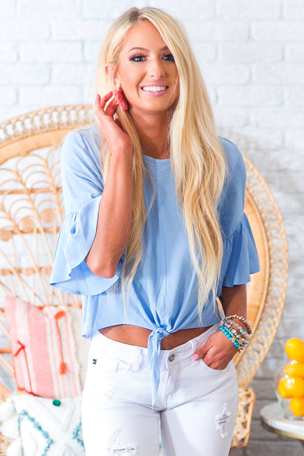Passport To Paradise Shift Top In Sky Blue