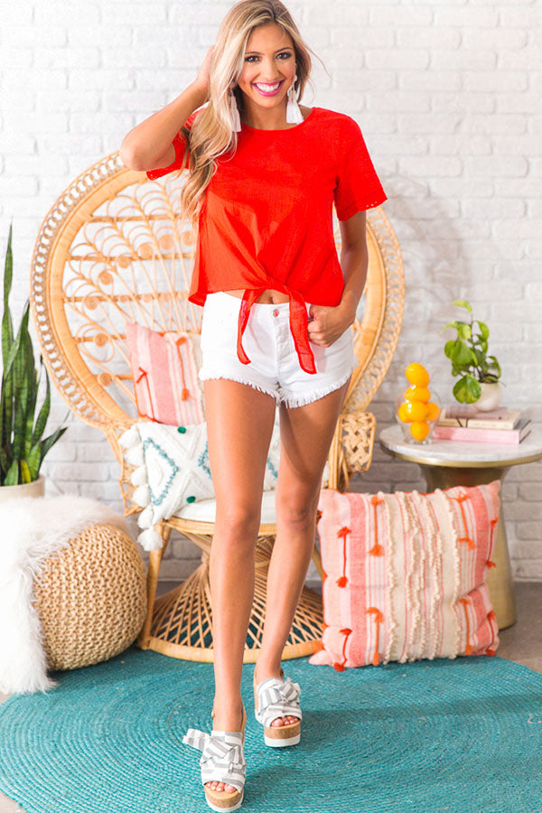 Picnic In Paradise Eyelet Top In Red
