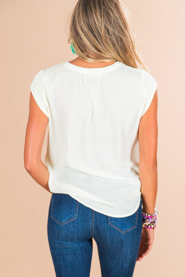 Absolutely Everything Shift Top In Cream