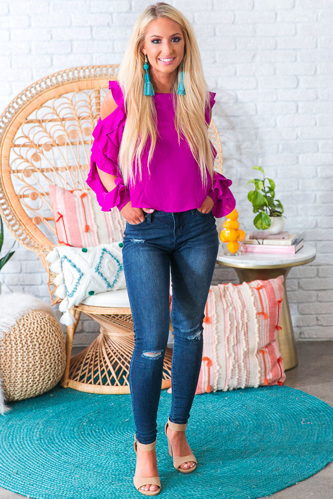 Date Night Fabulous Ruffle Top in Orchid