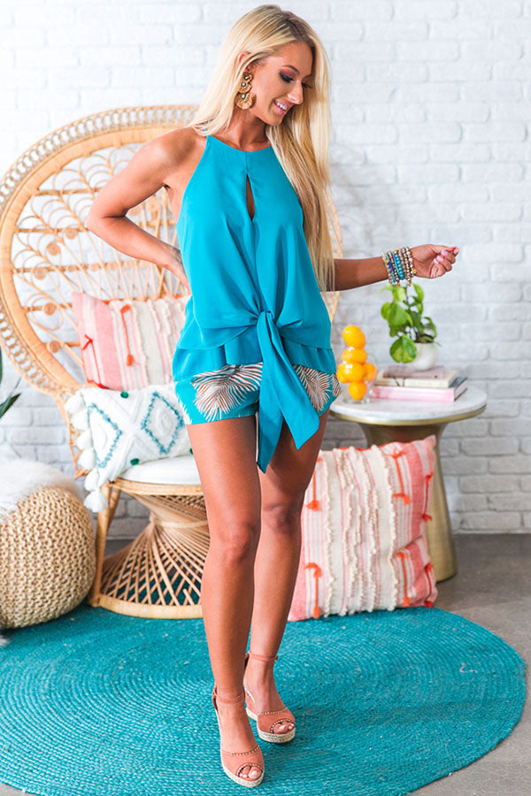 Newport Knot Shift Top In Turquoise