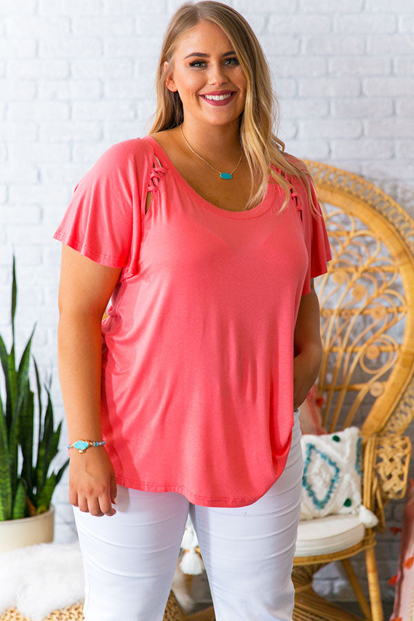 Patio Nights Shift Tee in Coral