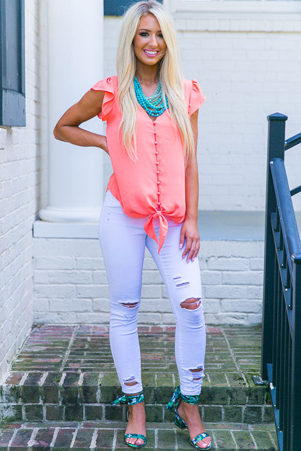 Sangria Sipping Shift Top in Light Coral
