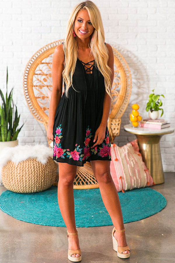Cozumel On My Mind Embroidered Dress In Black
