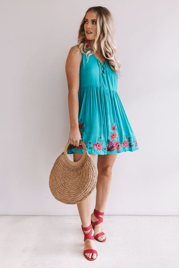 Cozumel On My Mind Embroidered Dress In Electric Blue