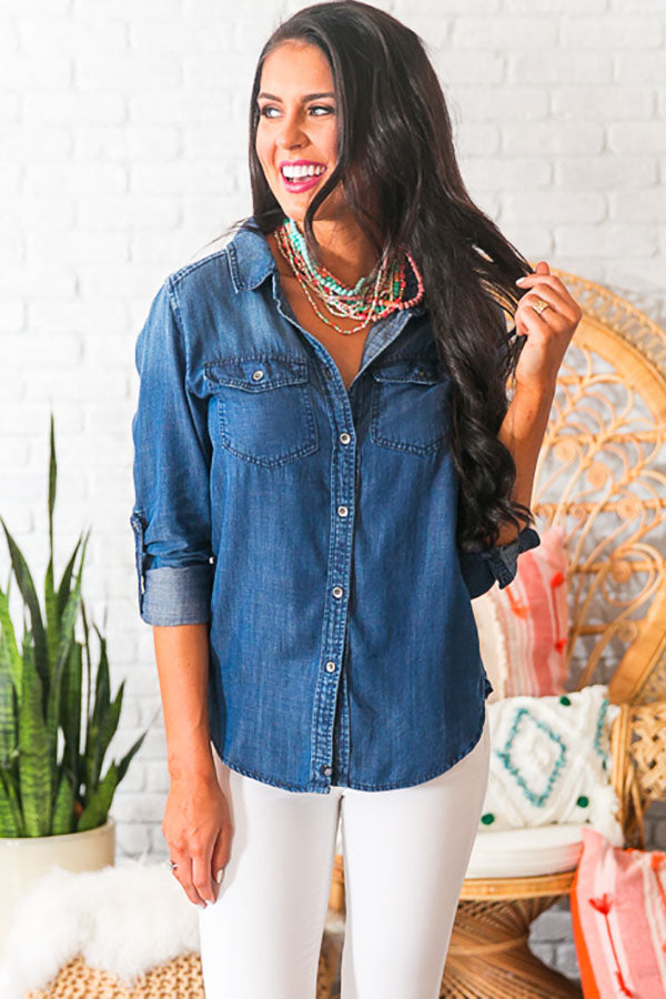 Button Up For Summer Chambray Top
