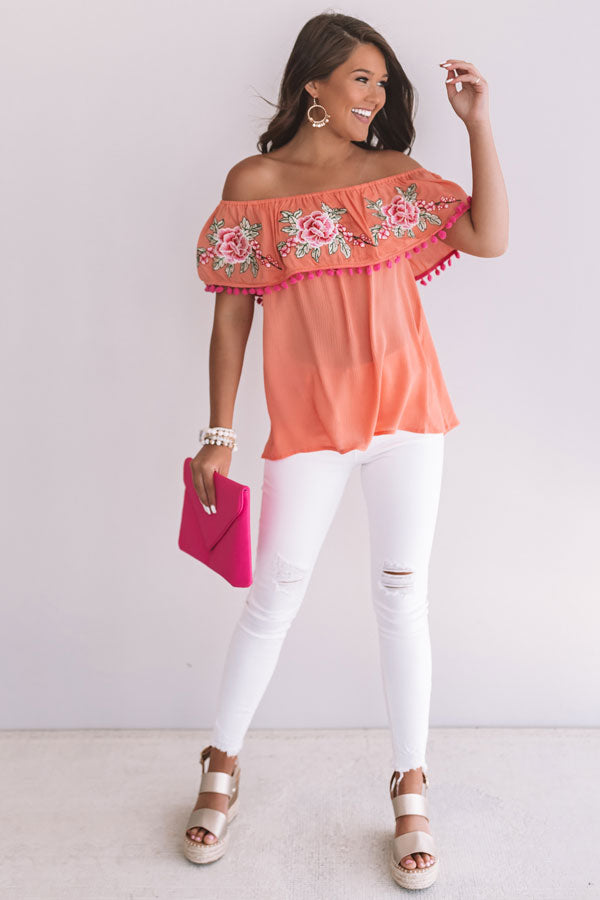 Meet Me In Montego Off Shoulder Top In Peach