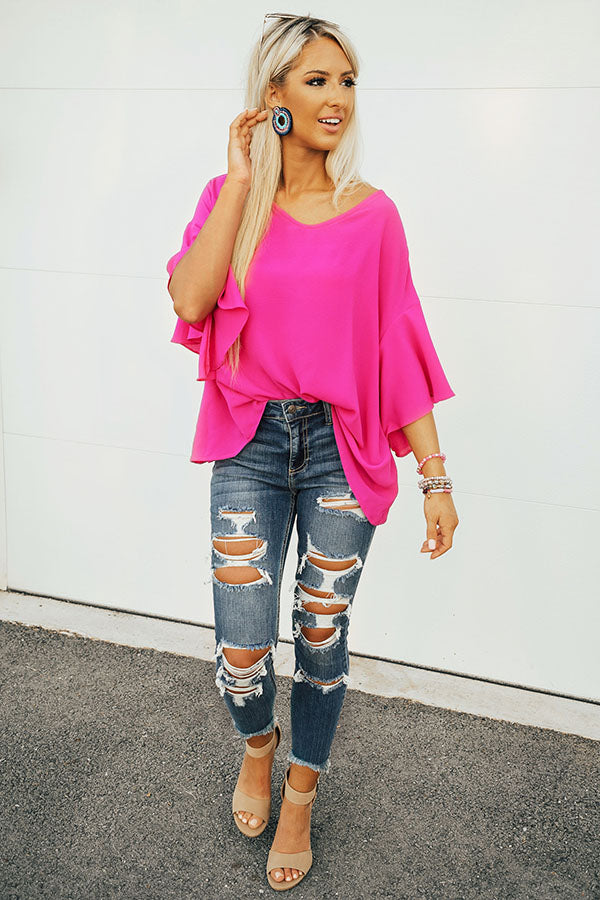 Weekend in Paradise Shift Top in Fuchsia