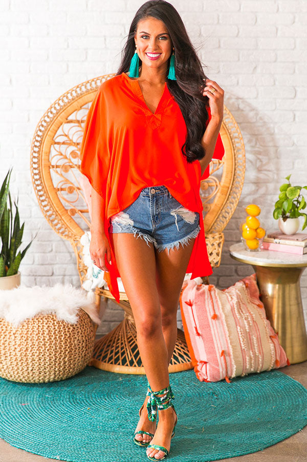 Cayman Islands Getaway Tunic In Neon Tangerine