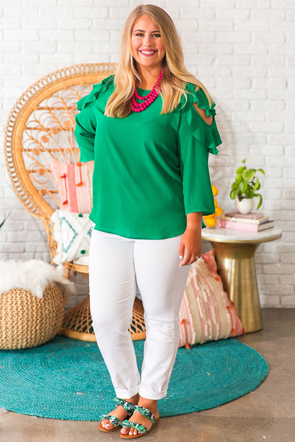 Only In Paradise Shift Top in Green
