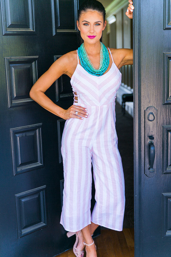 Seaside Stripe Jumpsuit in Pink
