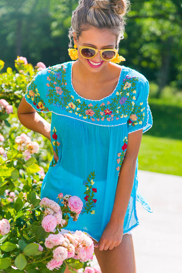 Call Me Beautiful Embroidered Top In Blue