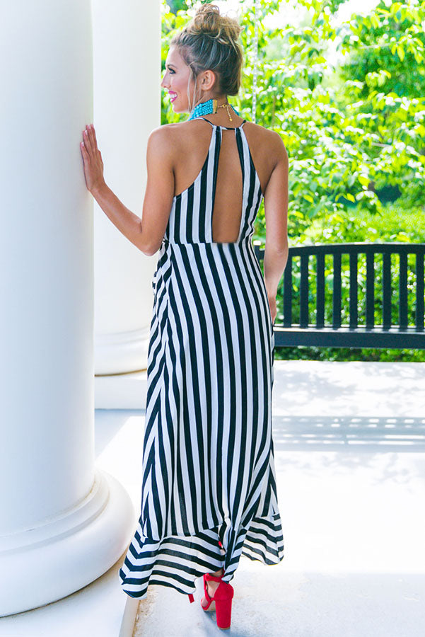 Striped Luxe Wrap Maxi Dress