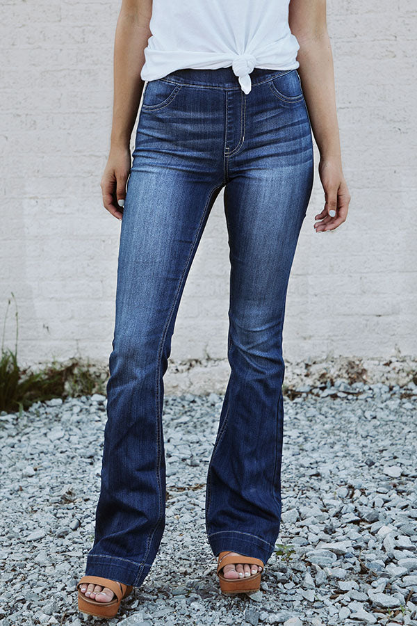 The Isabella Midrise Flare in Dark Wash