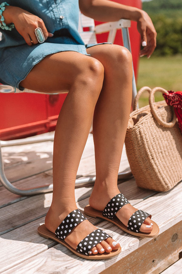 The Haven Polka Dot Sandal In Black