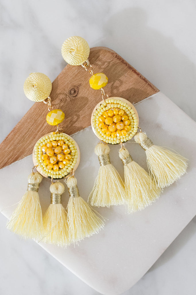 Luxe Daydream Tassel Earrings In Yellow