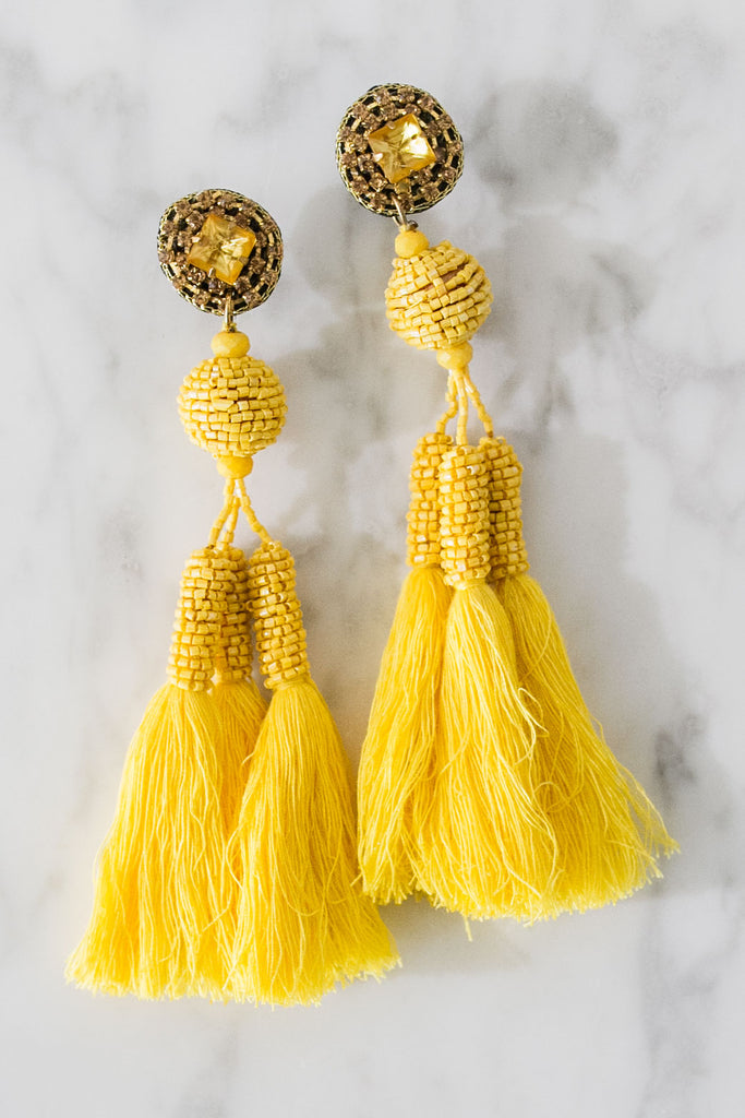Enchanted Evening Tassel Earrings In Yellow