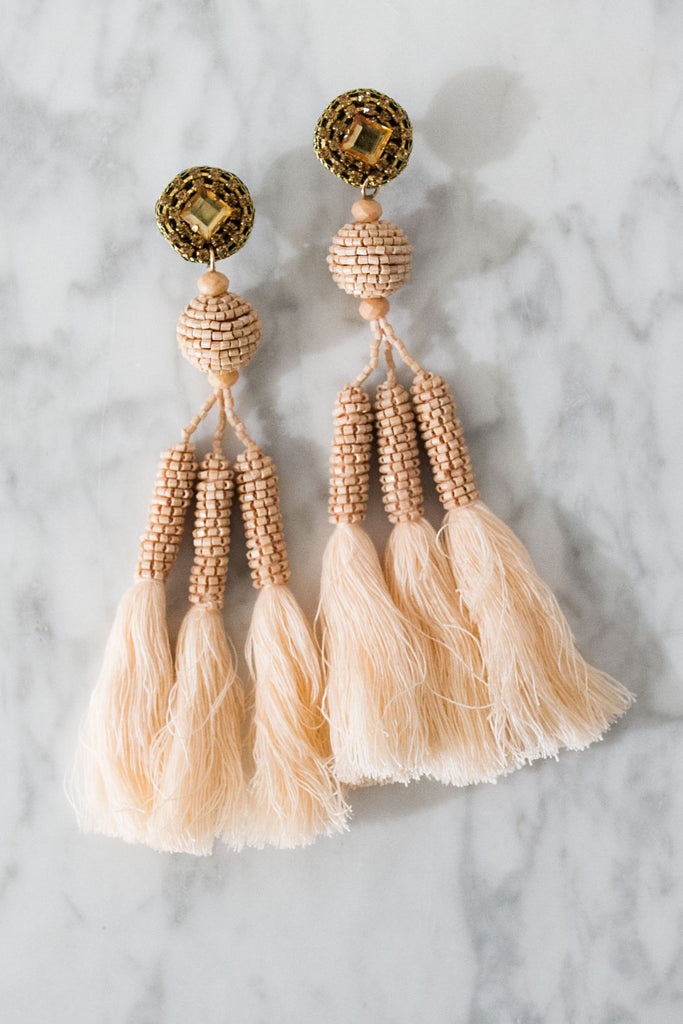 Enchanted Evening Tassel Earrings In Light Peach