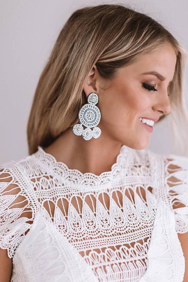 Pool Party Earrings In White