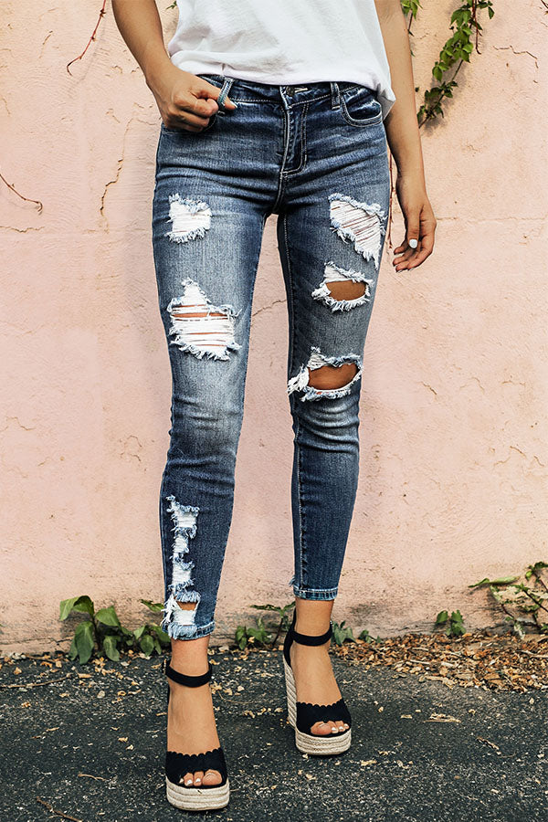 The Palm Beach Mid Rise Distressed Skinny in Dark Wash