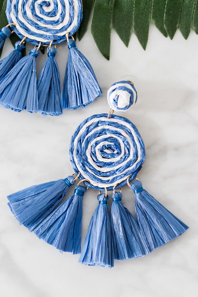 Right On Target Tassel Earrings In Blue