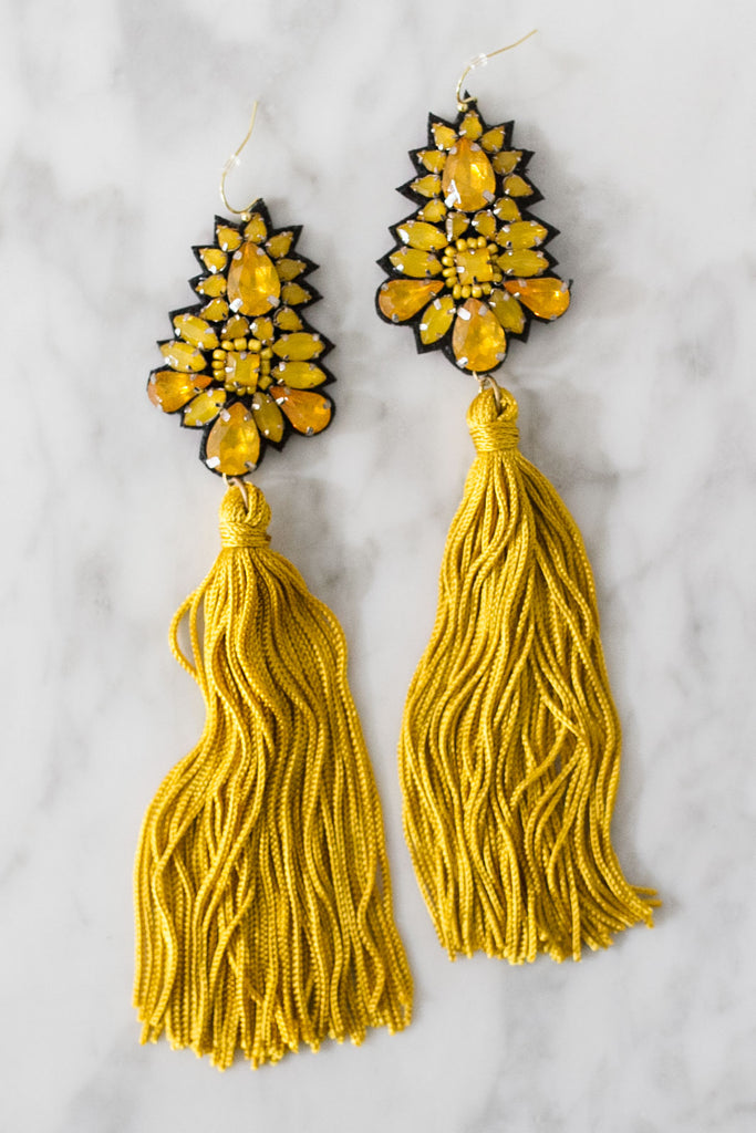 Maui Moment Tassel Earrings In Mustard