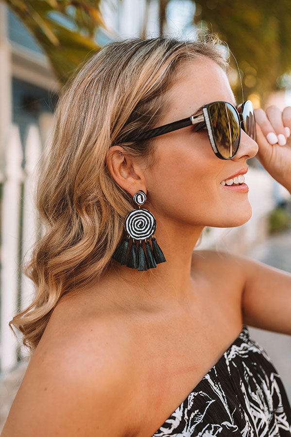 Right On Target Tassel Earrings In Black