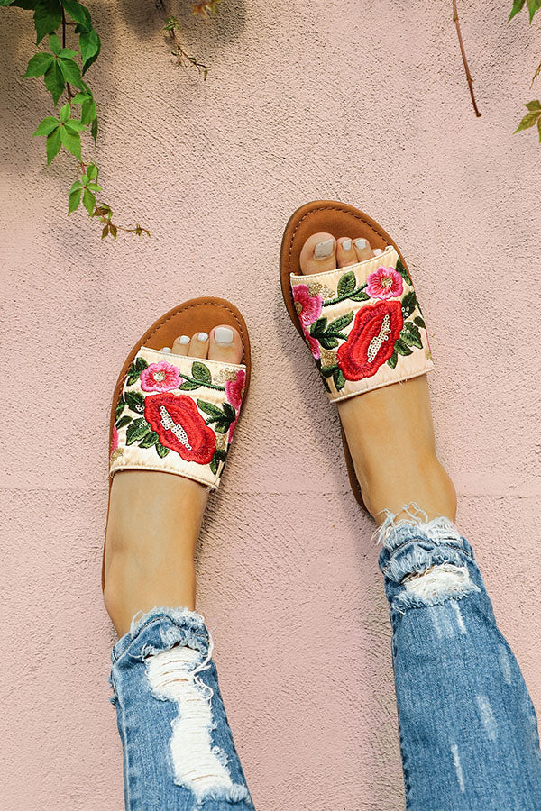 Sophia Embroidered Sandal