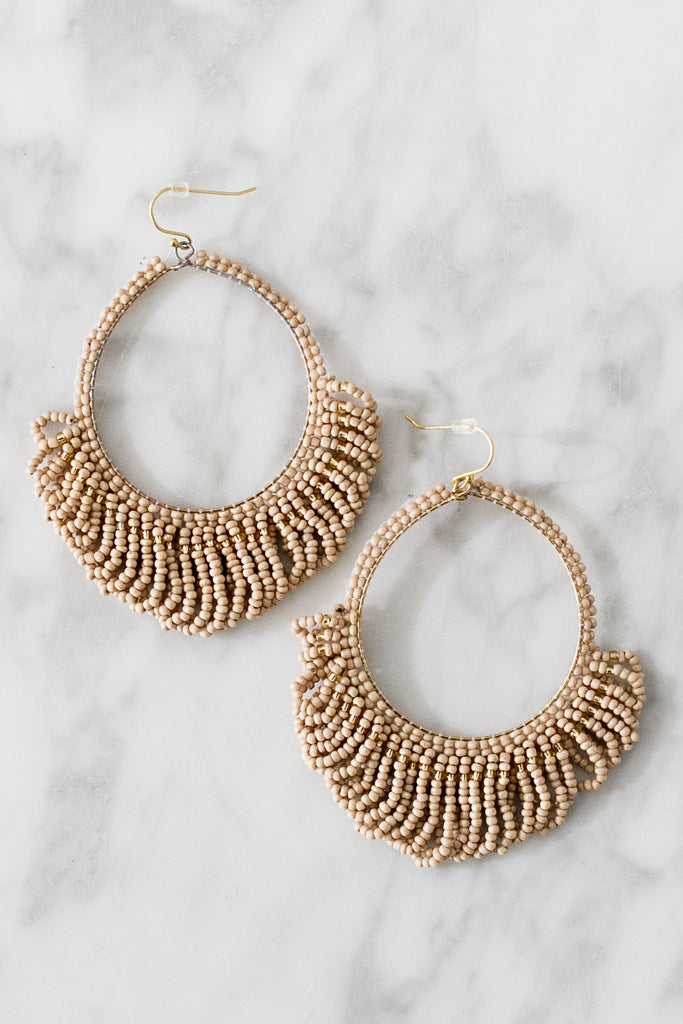 Beaded Chic Earrings In Iced Mocha