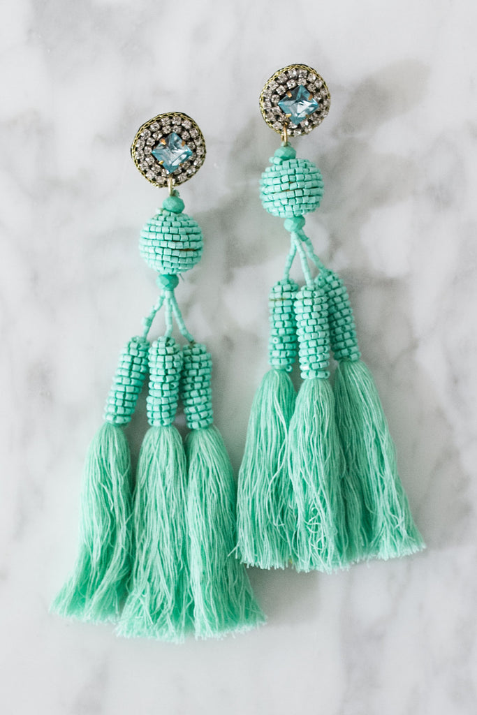 Enchanted Evening Tassel Earrings In Turquoise