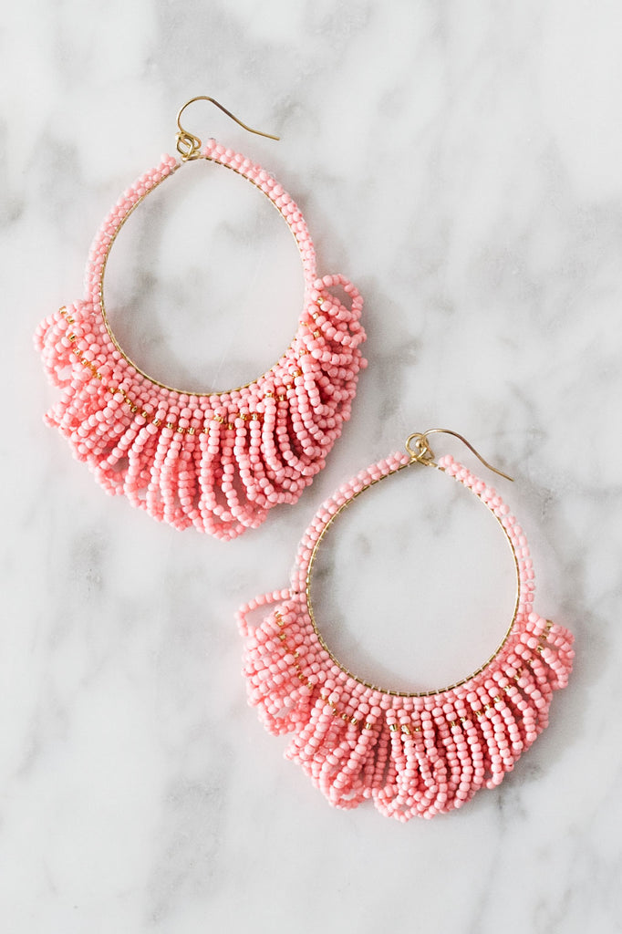 Beaded Chic Earrings In Pink
