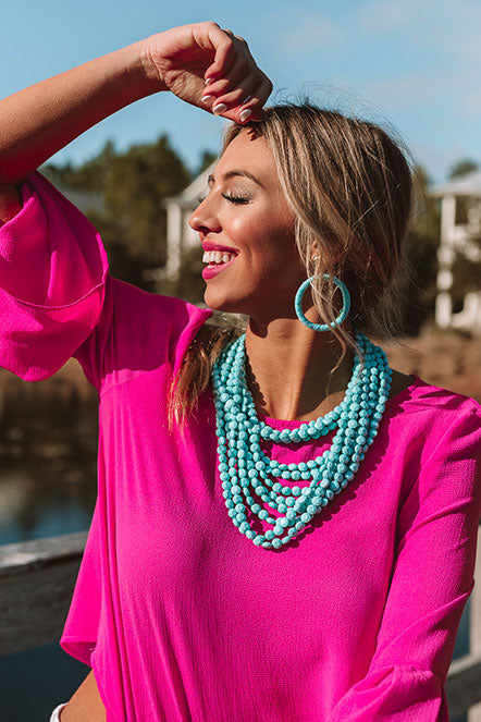 Keep It Coastal Layered Necklace In Turquoise