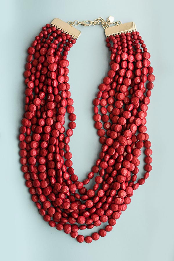 Keep It Coastal Layered Necklace In Red