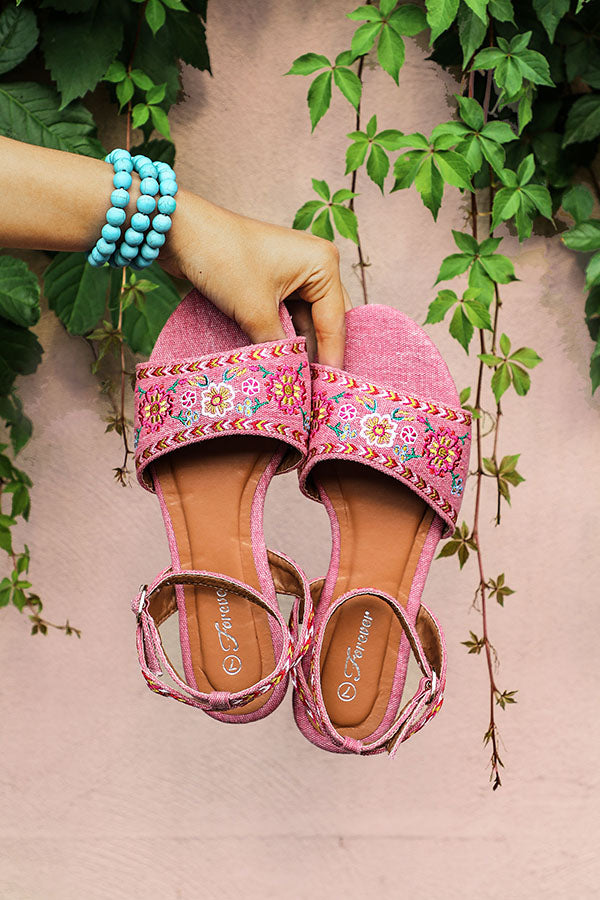 The Aria Embroidered Sandal in Pink